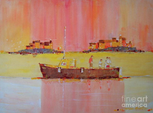 Boats Art Print featuring the painting Still Waters by Art Mantia