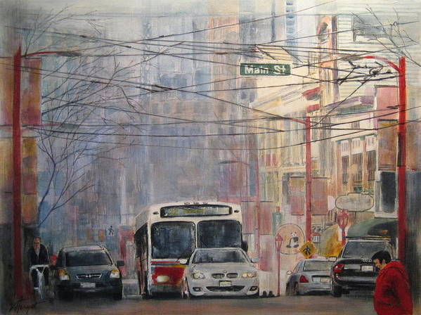 Bus Art Print featuring the painting Stop Light by Victoria Heryet