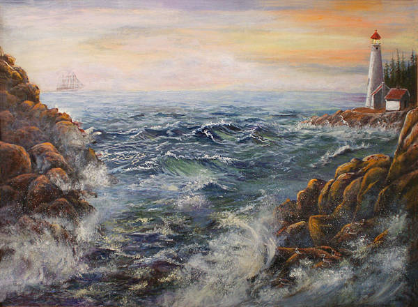 Seascape Art Print featuring the painting Stormy Pacific by Lucille Owen-Huston