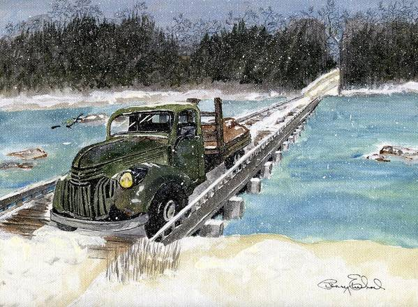 Landscape Art Print featuring the painting Stranded On Rockford Bridge by Penny Everhart