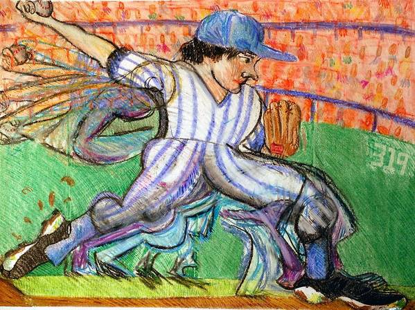 Baseball Art Print featuring the drawing Stride by Jame Hayes