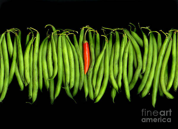 Culinary Art Print featuring the photograph Stringbeans And Chilli by Christian Slanec