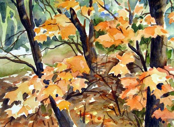 Watercolor Art Print featuring the painting Sugar Maple by Chito Gonzaga