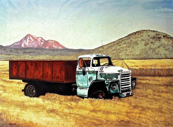 Old Truck Art Print featuring the painting Summer Harvest by Wendy Mae Peters