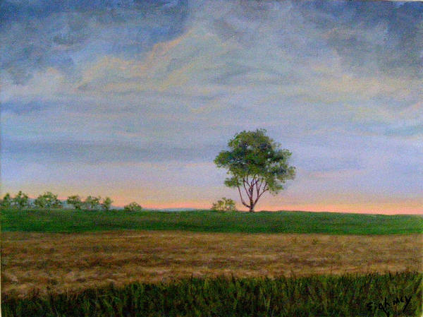 Landscape Art Print featuring the painting Summer Storm by Evelynn Eighmey