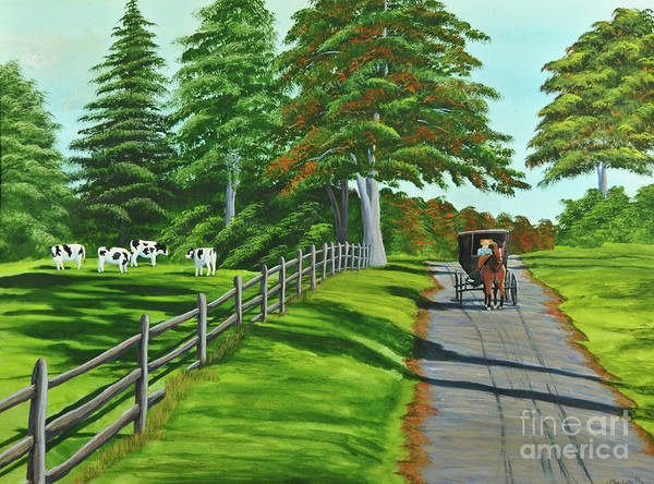 Cows Art Print featuring the painting Sunday Drive by Charlotte Blanchard
