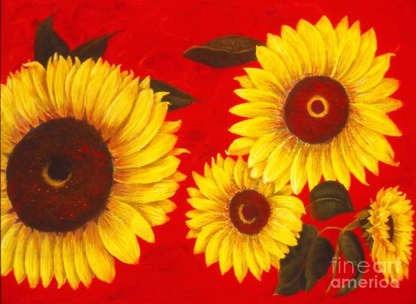 Flowers Art Print featuring the painting Sunflowers IIi by Mary Erbert