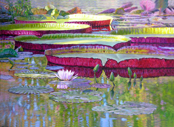 Lily Pond Art Print featuring the painting Sunlight On Lily Pads by John Lautermilch