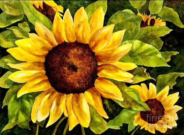 Sunflower Art Print featuring the painting Sunny Floral by Karen Ann