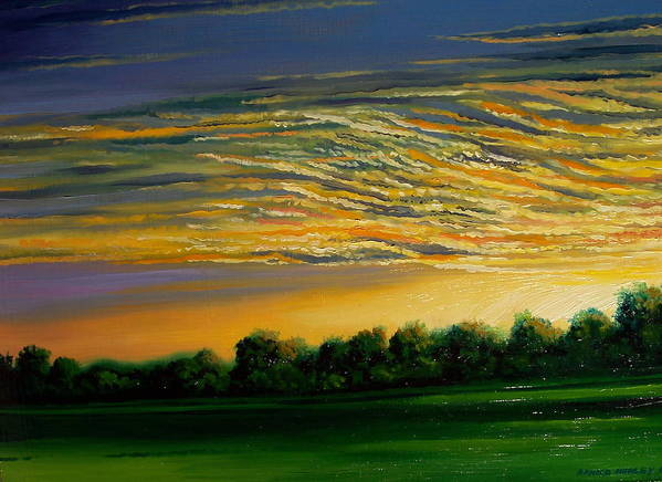 Landscape Art Print featuring the painting Sunrise by Arnold Hurley