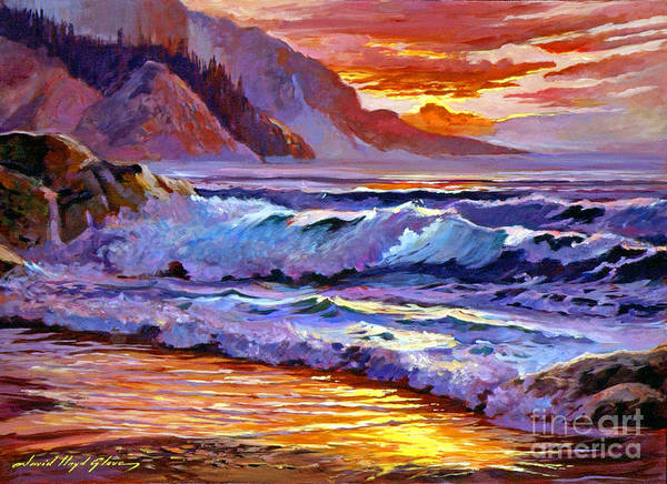 Ocean Art Print featuring the painting Sunset At Shipwreck Beach by David Lloyd Glover