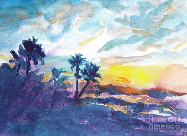 Landscape Art Print featuring the painting Sunset In Hawaii by Jan Bennicoff