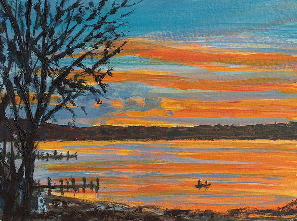Lakescape Art Print featuring the painting Sunset Lake by Pete Maier