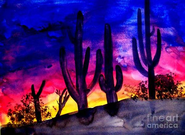 Colorful Art Print featuring the painting Sunset On Cactus by Michael Grubb