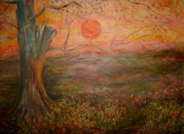 Sun Tree Sky Sundown Landscape Art Print featuring the painting Sunset Rev. by Joseph Sandora Jr