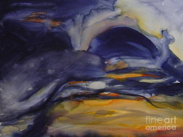 Sky Sunset Abstract Ominous Blue Dark Cloudy Leila Atkinson Original Watercolor Art Print featuring the painting Sunset Series IIi by Leila Atkinson