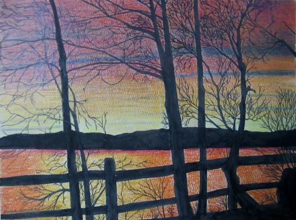 Sunset Art Print featuring the painting Sunset Somewhere by Joshua Armstrong