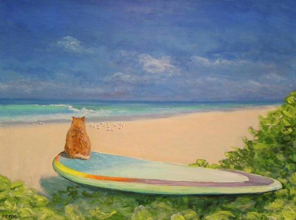 Cat Art Print featuring the painting Surfer Cat by Paul Emig
