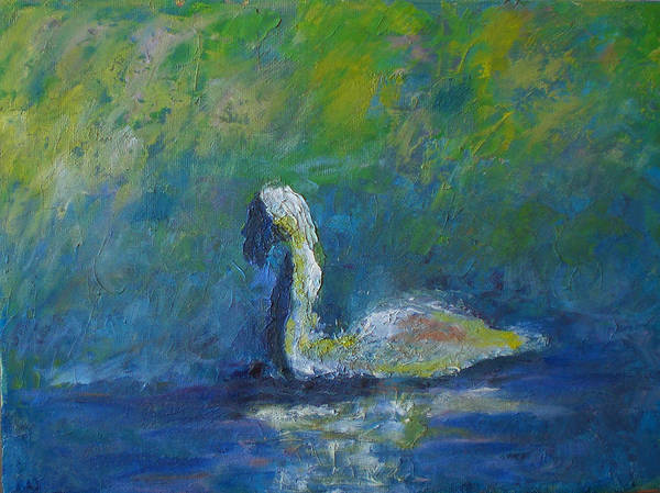 Impressionism Art Print featuring the painting Swan by Lou Ewers