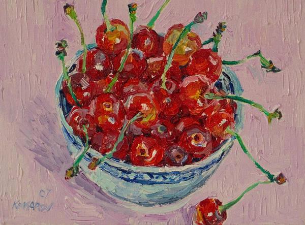 Cherries Art Print featuring the painting Sweet Cherries by Vitali Komarov