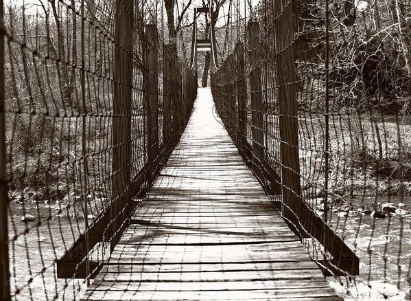 Bridge Art Print featuring the photograph Swinging Bridge by Kathy Jennings
