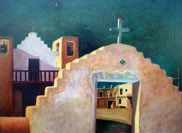 Oil Art Print featuring the painting Taos Evening Shadows by Stephen Hanson