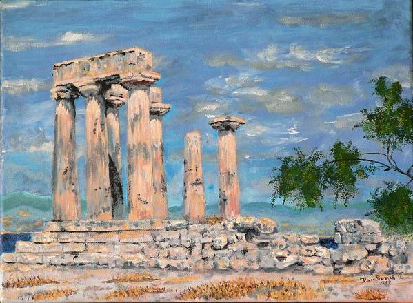 Landscape Art Print featuring the painting Temple Of Apollo by Dan Bozich