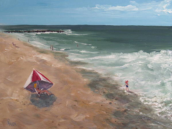 Seascape Art Print featuring the painting Testing The Waters by Pete Maier