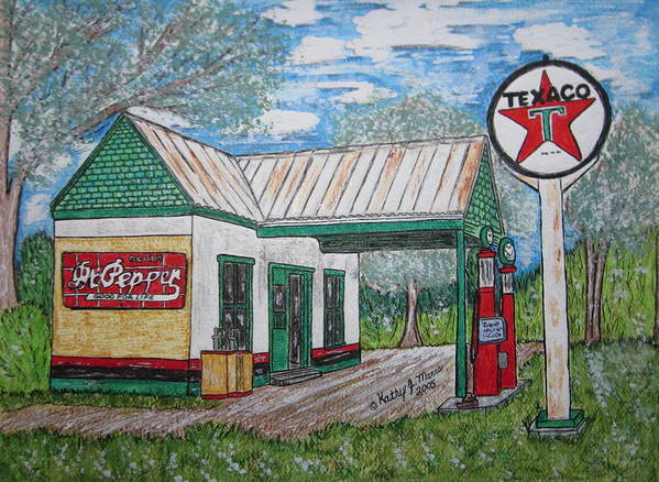 Nostalgia Art Print featuring the painting Texaco Gas Station by Kathy Marrs Chandler