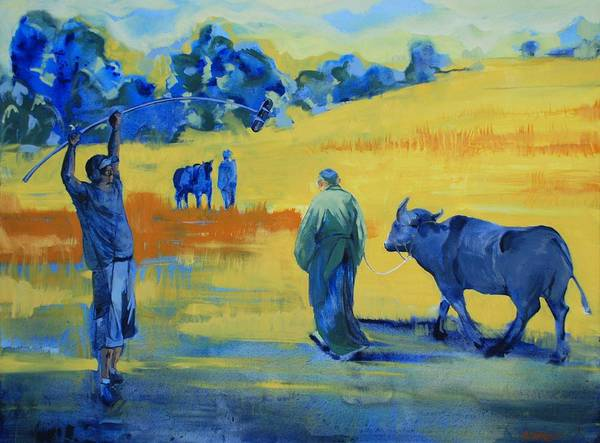 Landscape Yellow Animals People On Set Movies Film Buffalo Art Print featuring the painting The Boom Man And The Buffalo by Amy Bernays