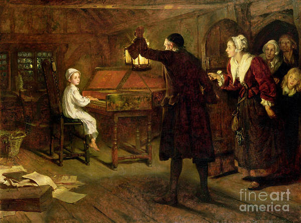 The Child Handel Art Print featuring the painting The Child Handel Discovered By His Parents by Margaret Isabel Dicksee