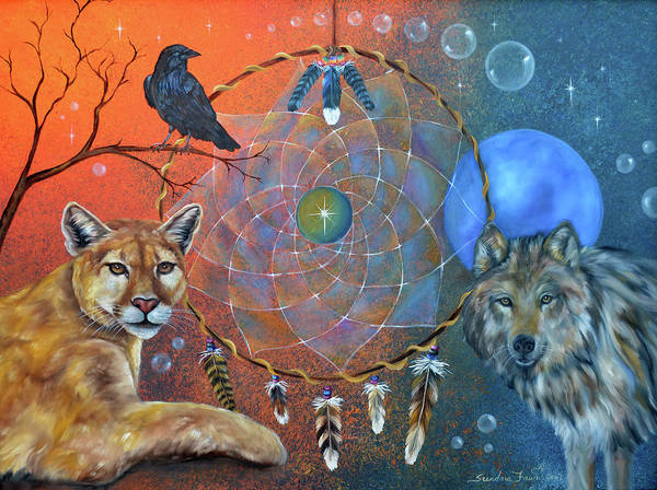 Wolf Art Print featuring the painting The Courage To Be Free by Sundara Fawn