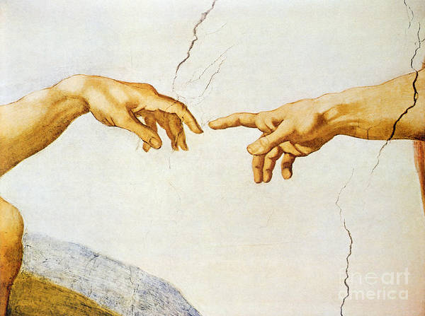 The Art Print featuring the painting The Creation Of Adam by Michelangelo Buonarroti