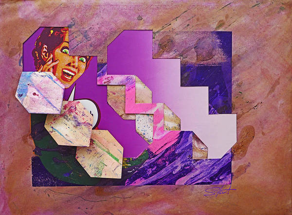 Psycho Art Print featuring the mixed media The Cubist Scream by Charles Stuart