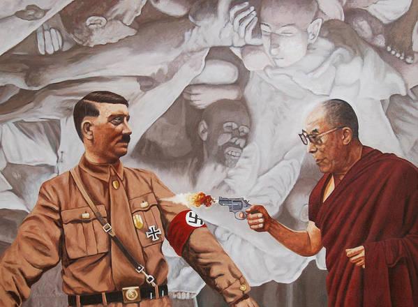 Dalai Lama Art Print featuring the painting The Dalai Lama Shoots Adolph Hitler by Allan OMarra