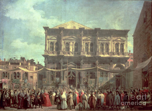 The Doge Visiting The Church And Scuola Di San Rocco Art Print featuring the painting The Doge Visiting The Church And Scuola Di San Rocco by Canaletto