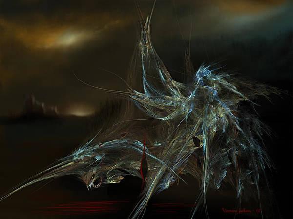 Dragon Warrior Medieval Fantasy Darkness Art Print featuring the digital art The Dragon Warrior by Veronica Jackson