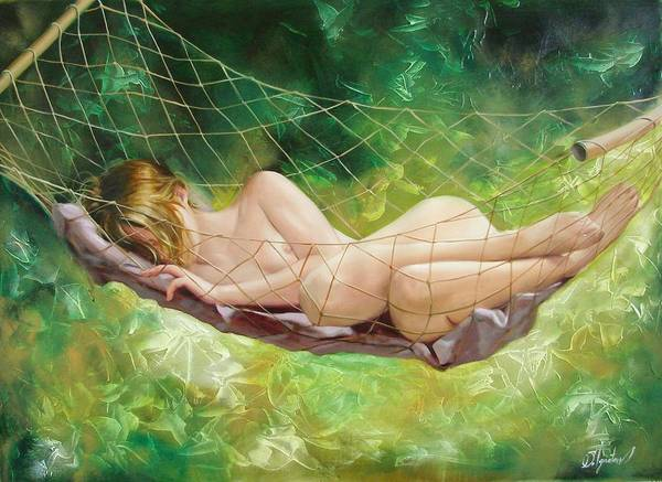 Oil Art Print featuring the painting The Dream In Summer Garden by Sergey Ignatenko