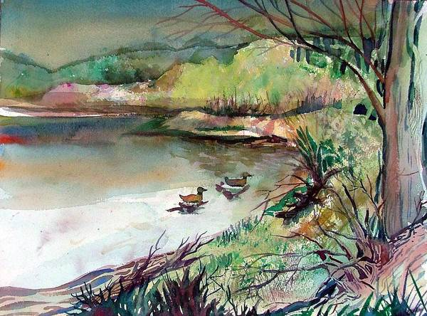 Ducks Art Print featuring the painting The Duck Pond by Mindy Newman