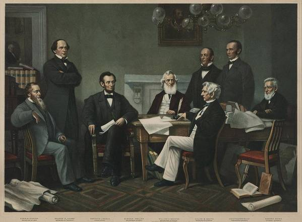 History Print featuring the photograph The First Reading Of The Emancipation by Everett