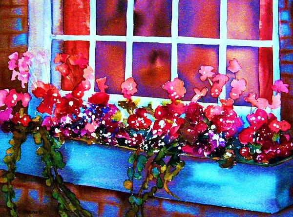 Flowerbox Art Print featuring the painting The Flowerbox by Carole Spandau