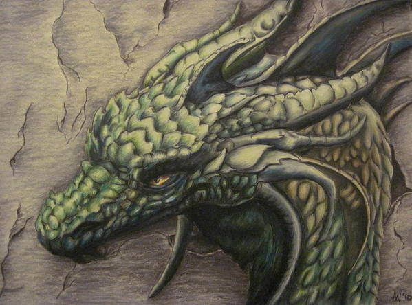 Dragon Art Print featuring the drawing The Forest Dragon by Ashley Warbritton