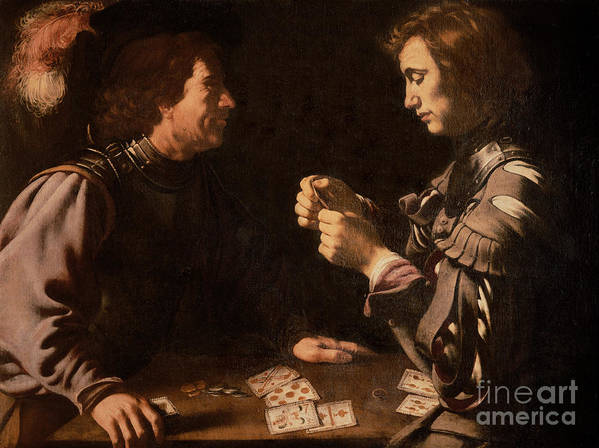 The Gamblers (oil On Canvas) By Michelangelo Caravaggio (1571-1610) Card Playing; Coins; Plume; Gambler; Pack Of Cards; Trickster; Competition; Competitive; Chiaroscuro; Gambling Print featuring the painting The Gamblers by Michelangelo Caravaggio