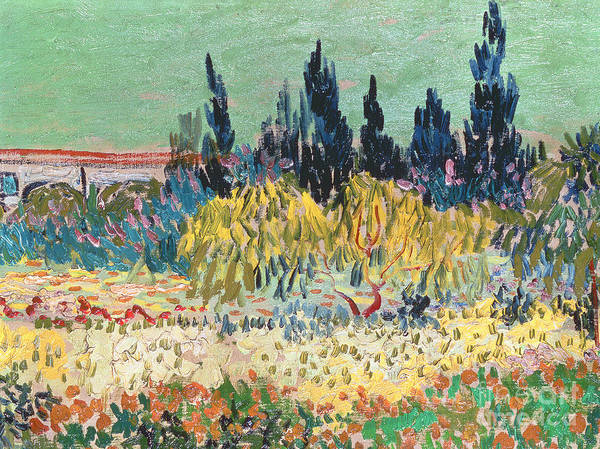 Garden In Bloom Art Print featuring the painting The Garden At Arles by Vincent Van Gogh