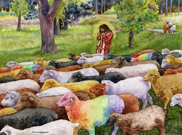 Jesus Painting Art Print featuring the painting The Good Shepherd by Anne Gifford