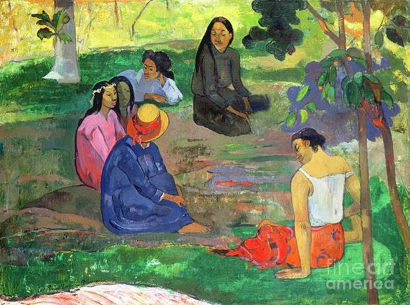 Hat; Post-impressionist; Tropical; Tahitian; Women; Sitting; Talking; Les Potins Art Print featuring the painting The Gossipers by Paul Gauguin