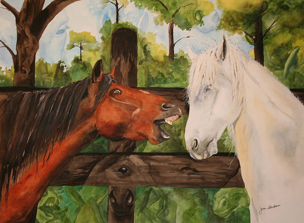 Horse Art Print featuring the painting The Horse Whisperers by Jean Blackmer