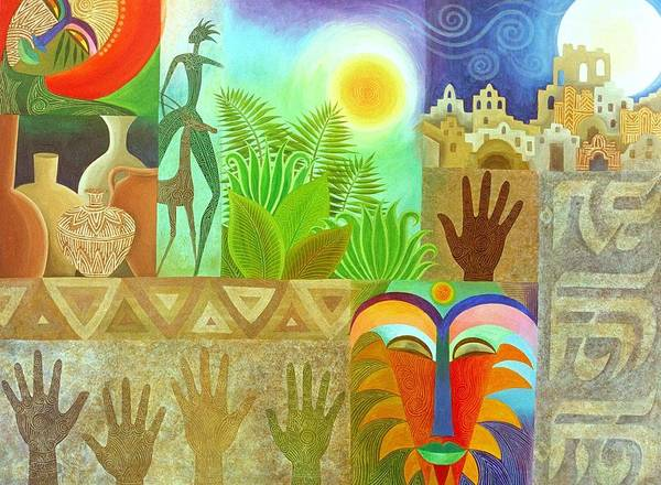 Spiritual Ancient Tropical Mystery Colourful Sun Masks Clay Patterns Art Print featuring the painting The Human Touch by Jennifer Baird