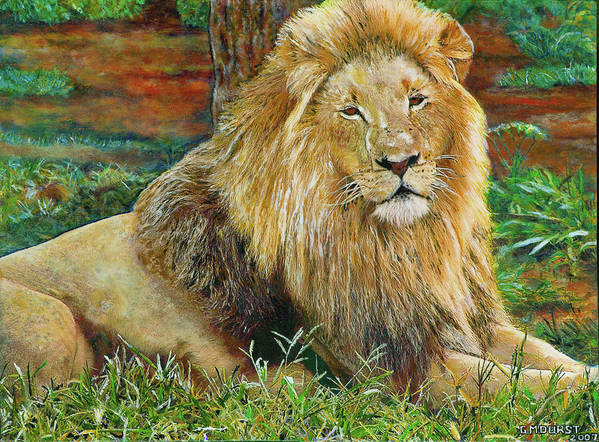 Lion Art Print featuring the painting The King by Michael Durst