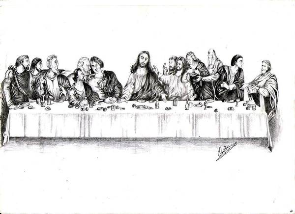 Christ Art Print featuring the drawing The Last Supper by Ranjith Kp